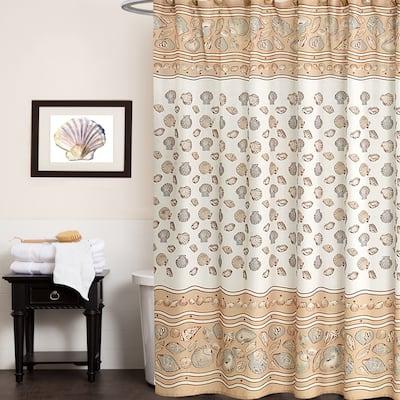 Sea Shell Print Fabric Shower Curtain
