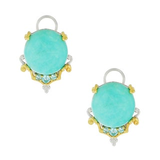 One-of-a-kind Michael Valitutti Palladium Silver Amazonite and Apatite Earrings