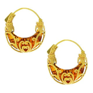 One-of-a-kind Michael Valitutti Palladium Silver Amber Hoop Earrings