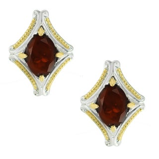 One-of-a-kind Michael Valitutti Palladium Silver Mazambique Garnet Stud Earrings