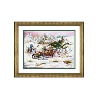 Peggy Abrams - Santa sleigh Ride - Framed Matted Christmas Art