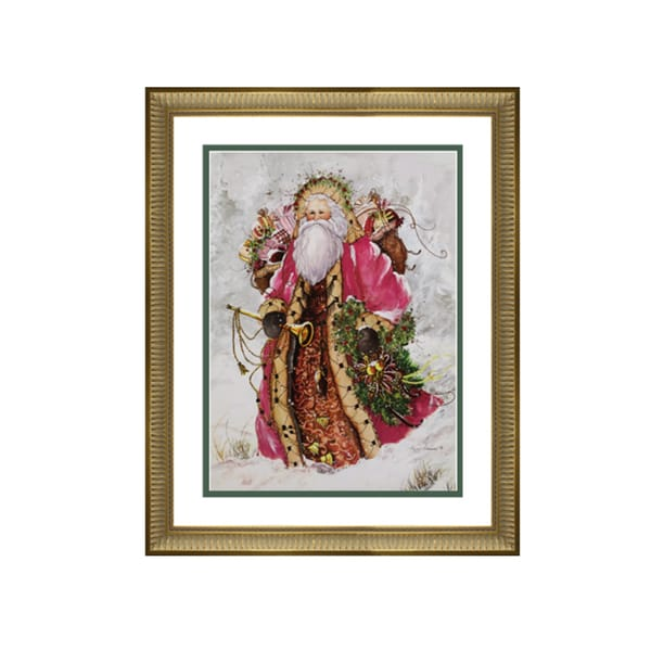 Peggy Abrams - Pink Santa - Framed Matted Christmas Art