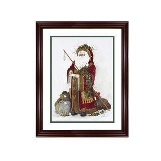 Peggy Abrams - Santa's Good or Bad List - Framed Matted Christmas Art