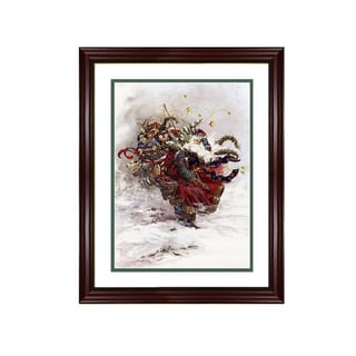 Peggy Abrams - Windswept Santa - Framed Matted Christmas Art