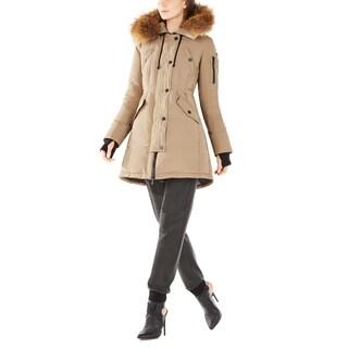 BCBGMaxazria Women's Sahara Beige Puffer Coat
