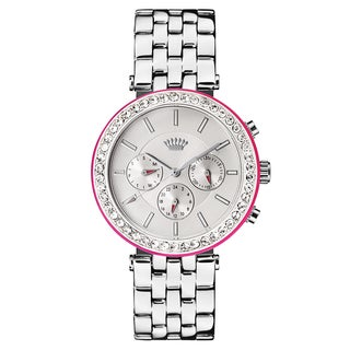 Juicy Couture Women's Stainless Steel Silver-tone with Pink Accent Watch