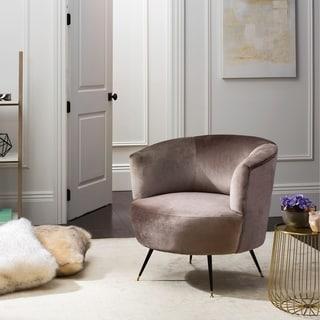 Safavieh Mid-Century Modern Arlette Grey Velvet Accent Chair