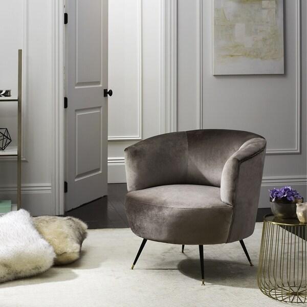 Safavieh Mid Century Modern Arlette Grey Velvet Accent