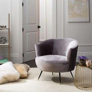 "Link to Safavieh Mid-Century Modern Retro Arlette Velvet Grey Club Chair - 32"" x 33"" x 31.5"" Similar Items in Accent Chairs"