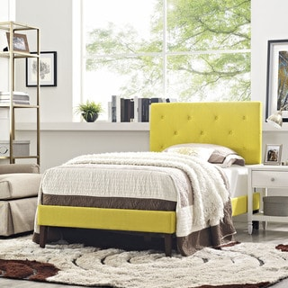 Terisa Sunny Fabric Upholstered Platform Bed with Squared Tapered Legs