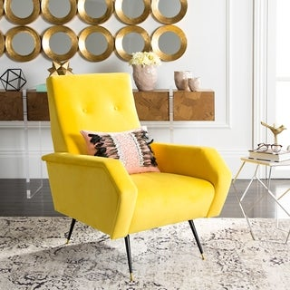 Great Safavieh Mid Century Modern Aida Velvet Yellow Accent Chair