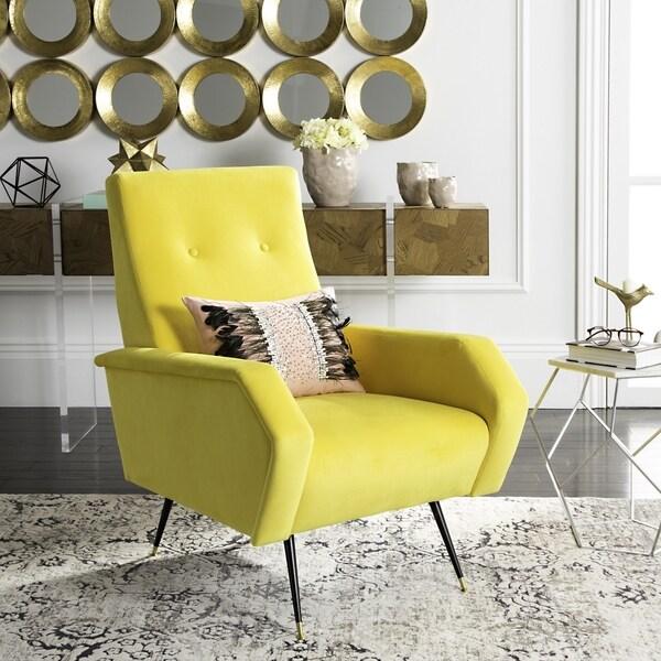 Safavieh Mid Century Modern Retro Aida Velvet Yellow Club Chair