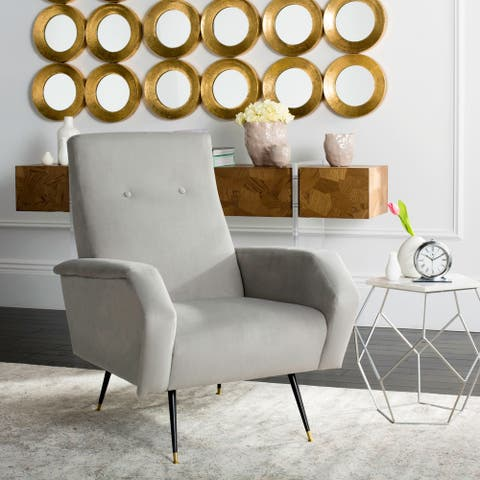 "Safavieh Mid-Century Modern Retro Aida Velvet Grey Club Chair - 27.5"" x 34.8"" x 37"""
