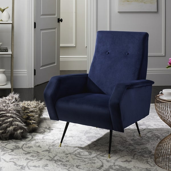 navy blue accent chair canada mid century modern velvet chairs flynn