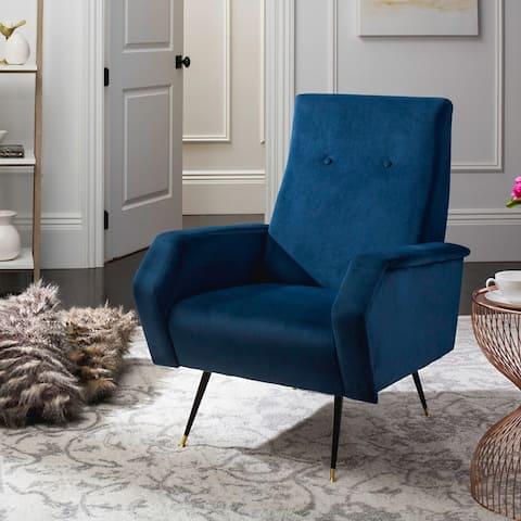 "Safavieh Mid-Century Modern Retro Aida Velvet Navy Club Chair - 27.5"" x 34.8"" x 37"""