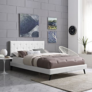 Terisa White Vinyl Platform Bed with Round Splayed Legs