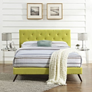 Terisa Wheatgrass Fabric Upholstered Platform Bed with Round Splayed Legs