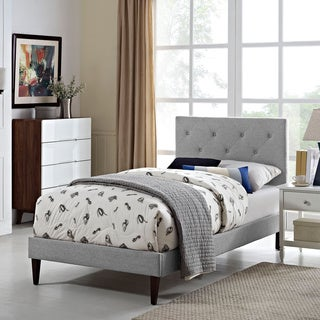 Terisa Light Grey Fabric Upholstered Platform Bed with Squared Tapered Legs