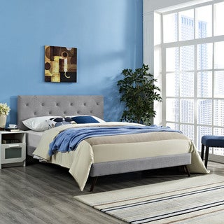 Terisa Light Grey Fabric Upholstered Platform Bed with Round Splayed Legs