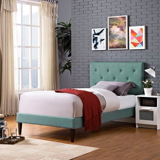 Terisa Laguna Fabric Upholstered Platform Bed with Squared Tapered Legs