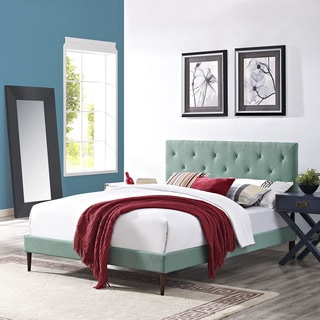 Terisa Laguna Fabric Upholstered Platform Bed with Round Tapered Legs