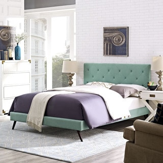 Terisa Laguna Fabric Upholstered Platform Bed with Round Splayed Legs