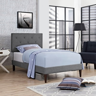 Terisa Fabric Platform Bed with Squared Tapered Legs in Gray
