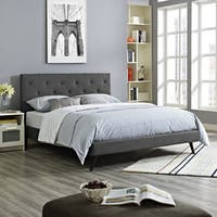 Terisa Grey Fabric Upholstered Platform Bed  with Round Splayed Legs