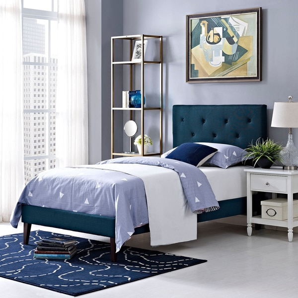Terisa Azure Fabric Upholstered Platform Bed with Squared Tapered Legs