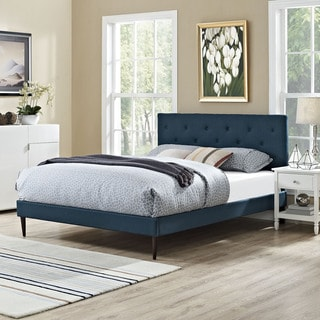 Terisa Azure Fabric Platform Bed with Round Tapered Legs