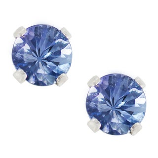 One-of-a-kind Michael Valitutti Palladium Silver 4mm round Tanzanite Stud Earrings