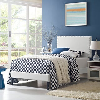 Phoebe White Vinyl Upholstered Platform Bed with Squared Tapered Legs