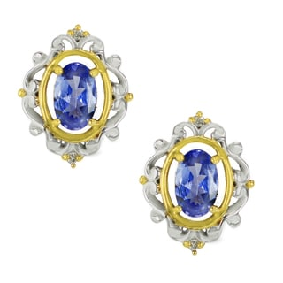 One-of-a-kind Michael Valitutti Palladium Silver Tanzanite and Diamond Stud Earrings