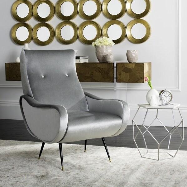 Light Grey Retro Accent Chair Cheap: Shop Safavieh Mid-Century Modern Retro Elicia Velvet Light