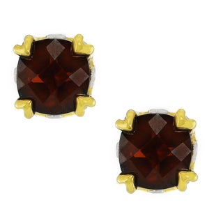 One-of-a-kind Michael Valitutti Palladium Silver Cushion Cut Mazambique Garnet Stud Earrings