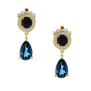 One-of-a-kind Michael Valitutti Palladium Silver Rose Cut Blue Sapphire, London Blue Topaz and Dark Pink Sapphire Drop Earrings