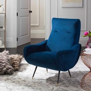 Safavieh Mid-Century Modern Elicia Velvet Navy Accent Chair