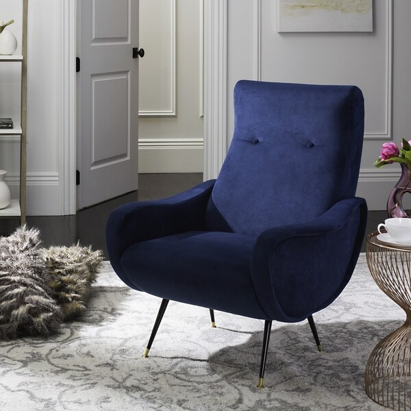 Safavieh Mid Century Modern Elicia Velvet Navy Accent Chair   Free Shipping  Today   Overstock.com   20044533