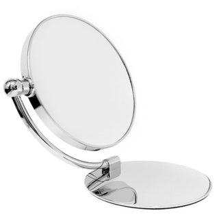 Classical Chrome Foldable Dual-sided Stand Mirror with 7x/1x Magnification