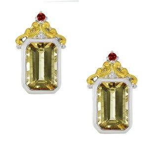 One-of-a-kind Michael Valitutti Palladium Silver Brazilian Canary Citrine and Dark Orange Sapphire Stud Earrings