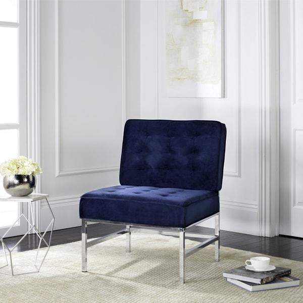 Shop Safavieh Mid Century Modern Ansel Velvet Navy Blue