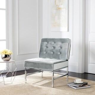 Safavieh Mid-Century Modern Ansel Tufted Linen Chrome Light Grey Accent Chair