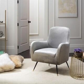 Safavieh Mid-Century Modern Noelle Velvet Light Grey Accent Chair