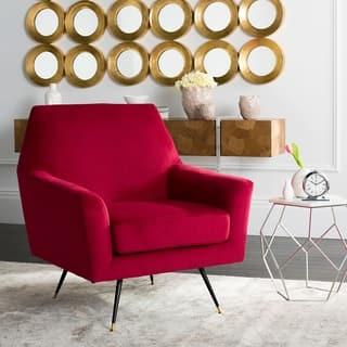 Safavieh Mid-Century Modern Nynette Velvet Maroon Red Club Chair