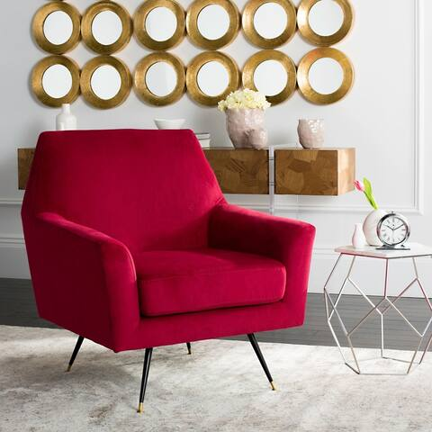 "Safavieh Mid-Century Modern Nynette Velvet Maroon Red Club Chair - 32"" x 31"" x 35.5"""