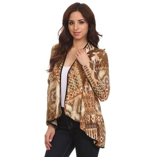 Women's Multicolor Polyester and Spandex Tapestry Pattern Cardigan
