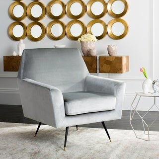 Safavieh Mid-Century Modern Nynette Velvet Light Grey Accent Chair