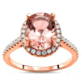 Noori 1 5/6 TGW Oval Cut Morganite Diamond Engagement Ring 14k Rose Gold
