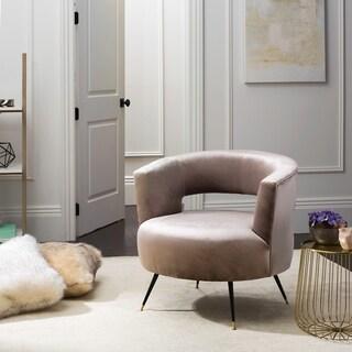 Safavieh Mid-Century Modern Manet Velvet Hazelwood Accent Chair