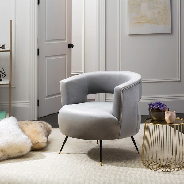 "SAFAVIEH Mid-Century Modern Glam Manet Velvet Light Grey Club Chair - 32"" x 30.5"" x 30"". Opens flyout."